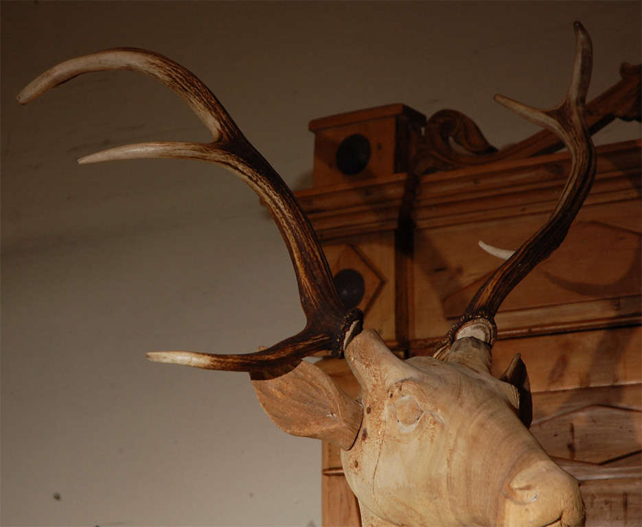Large Wood Carved Standing Deer For Sale 1