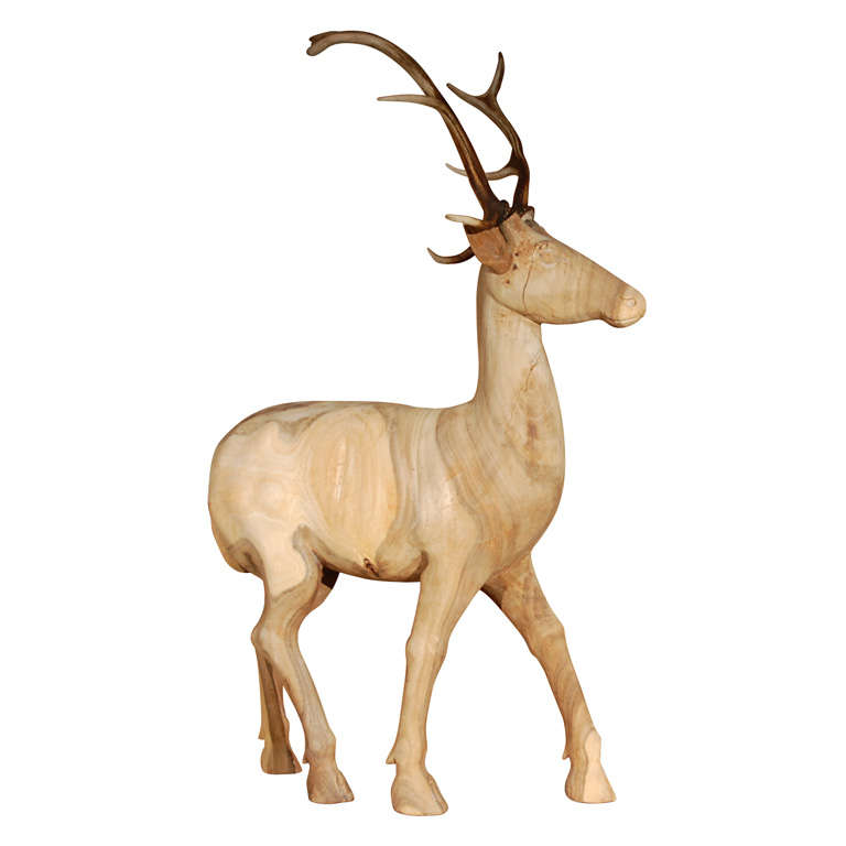 Large Wood Carved Standing Deer For Sale