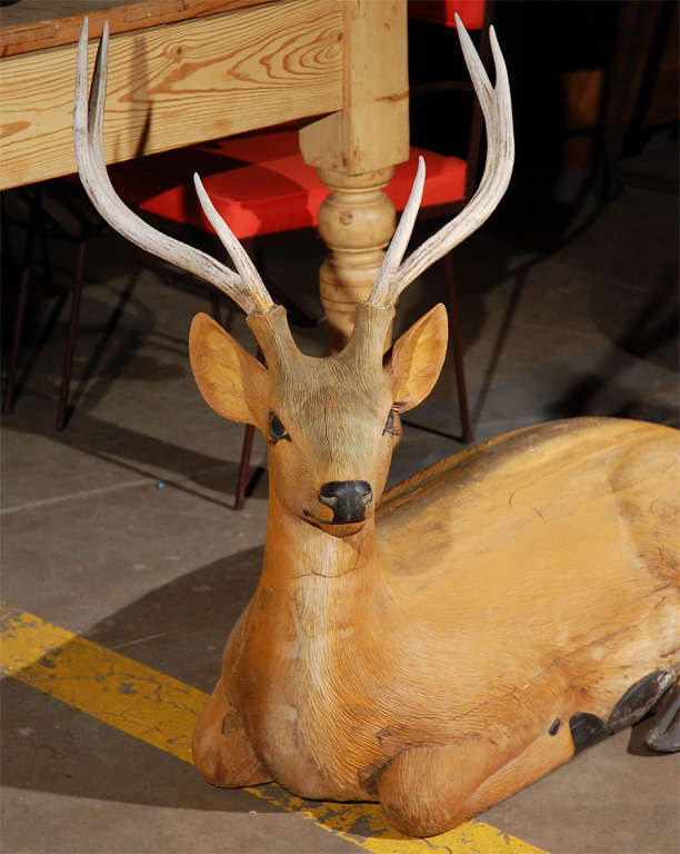 Reclining Carved and Painted Wood and Deer In Good Condition For Sale In Los Angeles, CA