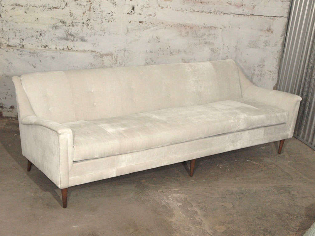 Magnificent Italian Mid Century Modern Sofa In Pearl Velvet And Down Ibusinesslaw Wood Chair Design Ideas Ibusinesslaworg