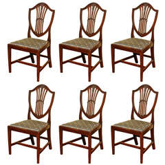 Set of Six Hepplewhite Carved Dining or Game Chairs, circa 1780
