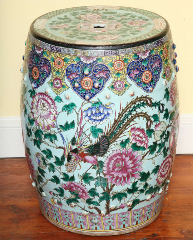 Antique Chinese Enamelled Porcelain Garden Seat C 1850 At