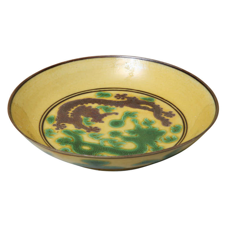 Antique Chinese Porcelain Dragon Dish, Guangxu 1871-1908
