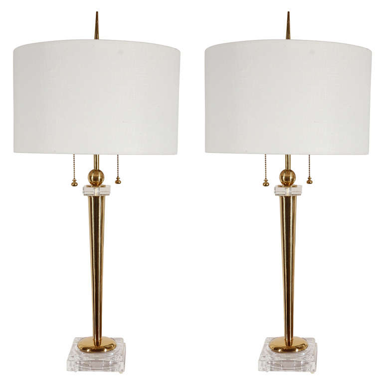 Pair of Hollywood Regency Crystal and Brass Table Lamps at