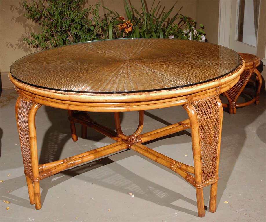 Vintage Rattan Dining Table Chairs Image 4