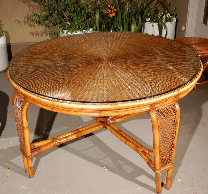 Vintage rattan dining table chairs at 1stdibs for Dining room table with wicker chairs