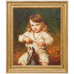 A Portrait of a Young Child on a Rocking Horse by Carl Wilhem Friedrick Bauerle