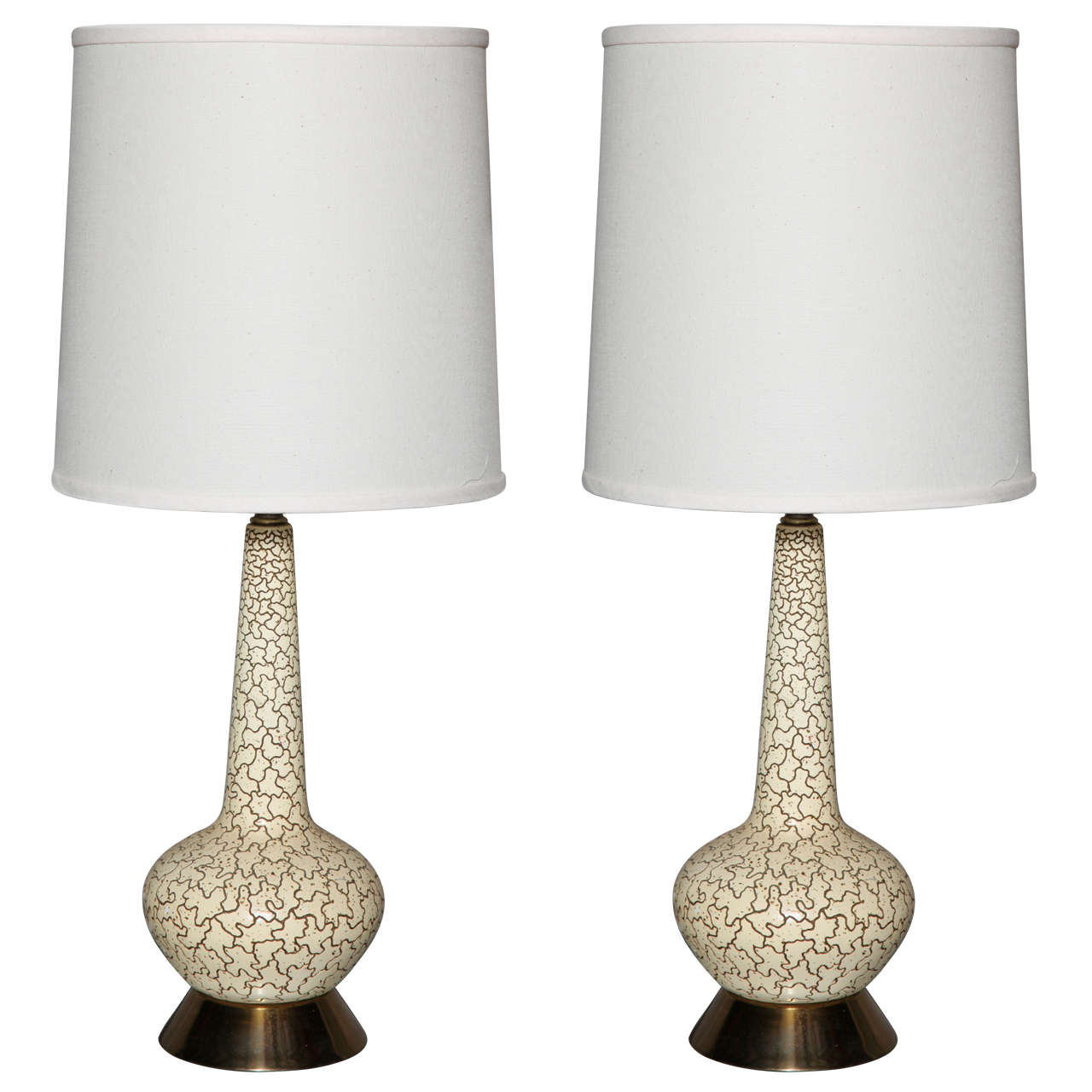 Pair Of Mid Century Etched Ceramic Table Lamps At 1stdibs
