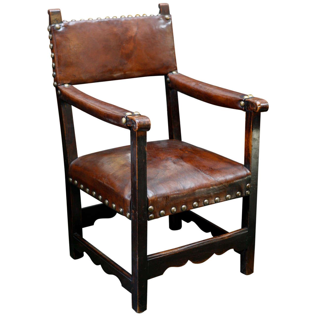 Italian Leather Arm Chair Circa 1820 At 1stdibs