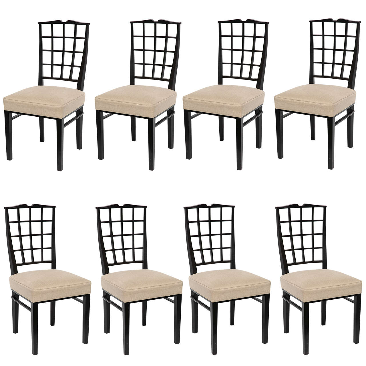 Dominique, Set of Eight Dining Chairs, France, 1937