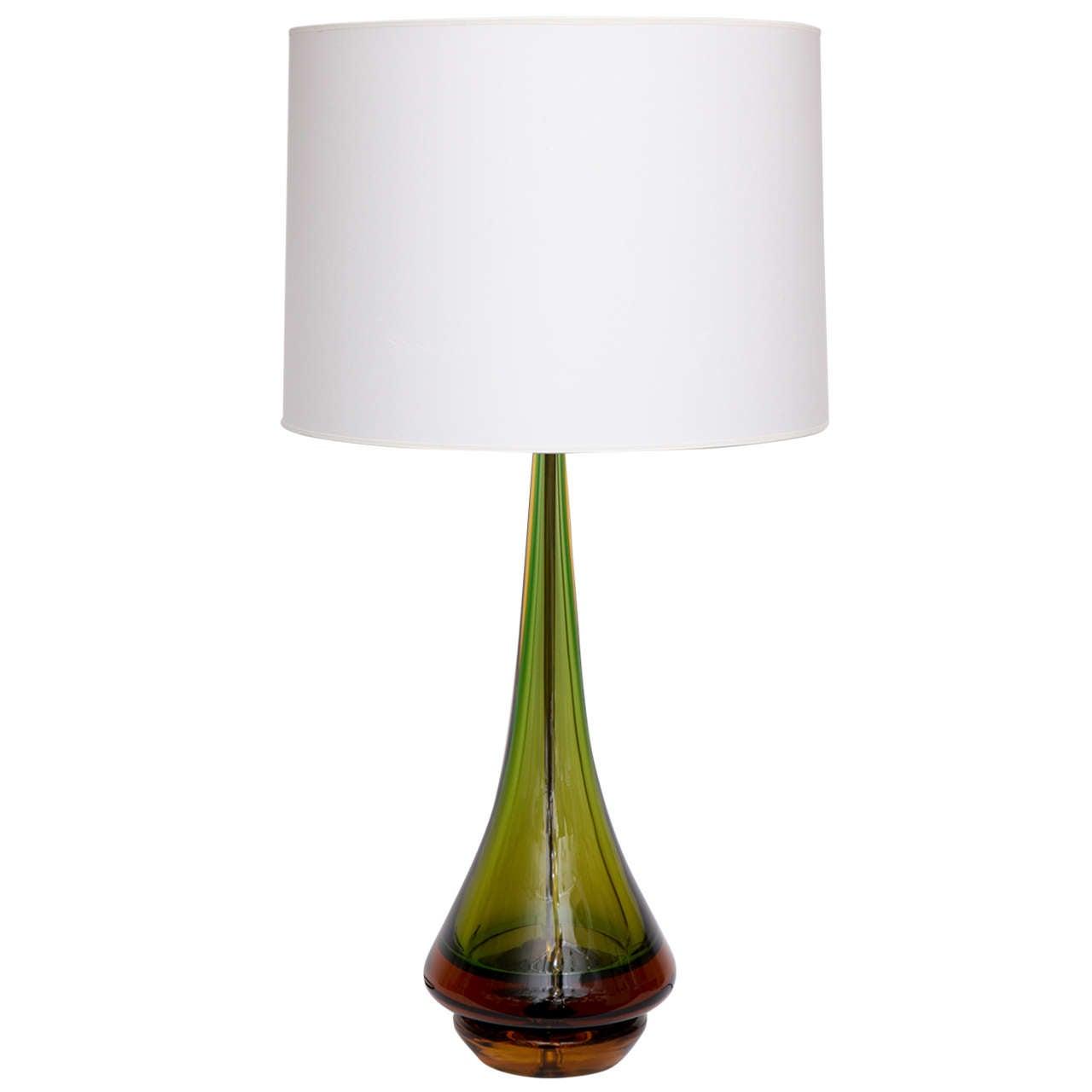 1950s Italian Art Glass Table Lamp Signed Seguso