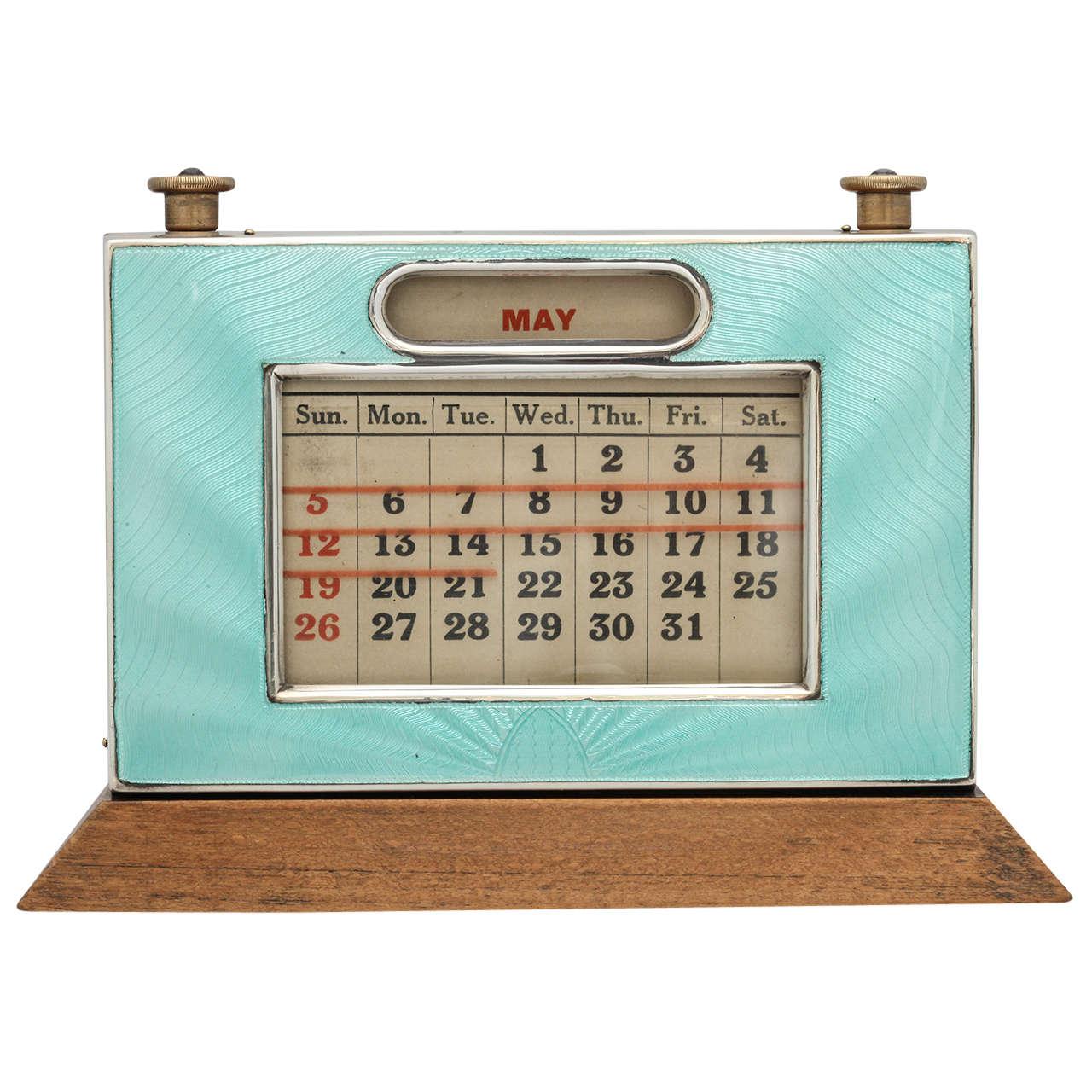 Perpetual Calendar Art Deco : Art deco sterling silver and guilloche enamel perpetual