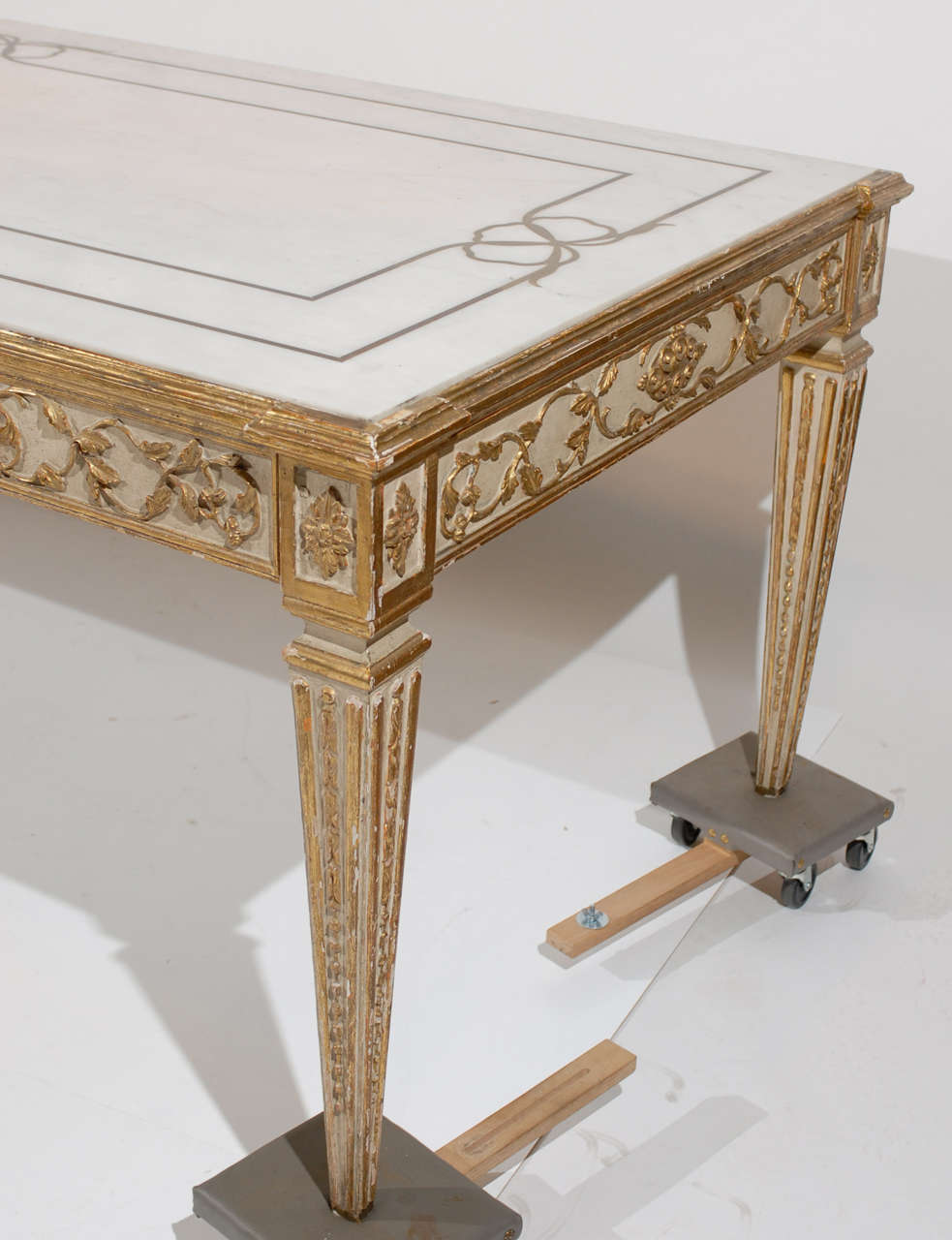 Marble Inlay Table Tops : Large continental inlaid marble top dining table with