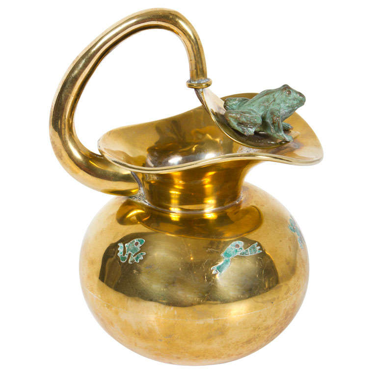 Malachite and Brass Frog Pitcher by Los Castillo
