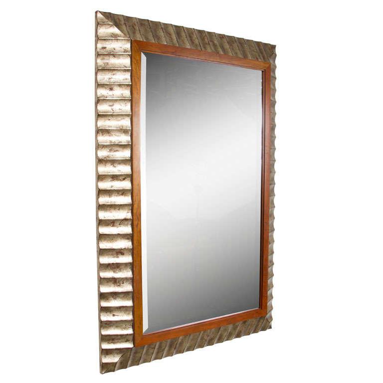 Silver leaf fluted frame mirror by john black for baker for Silver framed mirrors on sale