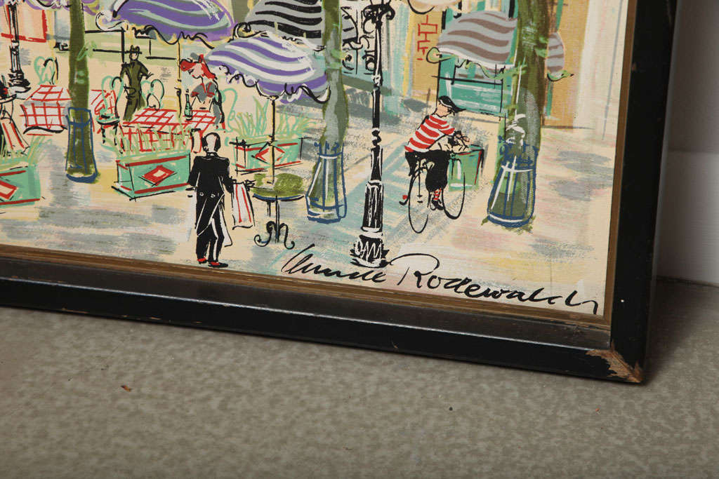 Paris Street Scene Watercolor In Good Condition For Sale In Stamford, CT