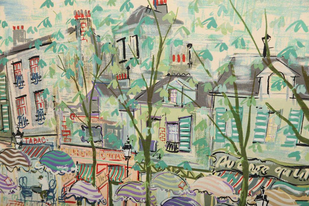 Mid-20th Century Paris Street Scene Watercolor For Sale