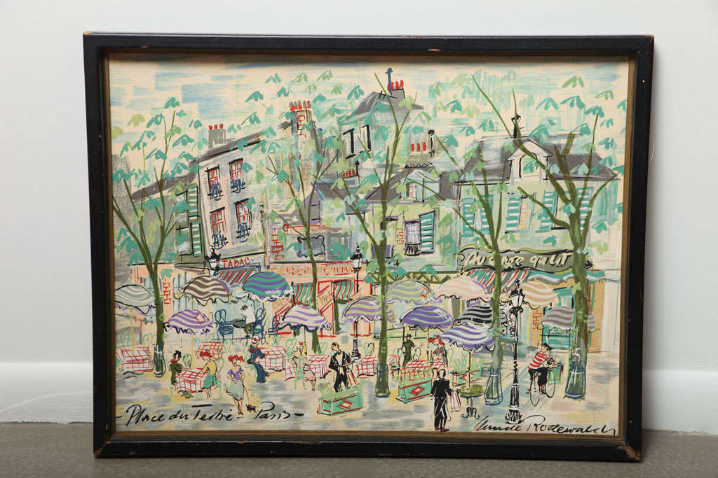 Signed watercolor on press board of a Paris street scene found in Paris. Nice substantial frame, but paint loss to the frame. The press board is a bit warped but does not interfere with the charming subject matter.