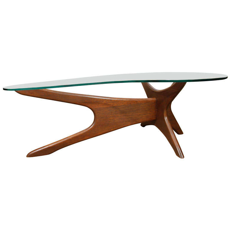 Kidney Shaped Glass Top Coffee Table Adrian Pearsall Walnut Base Kidney Shape Coffee Table at 1stdibs