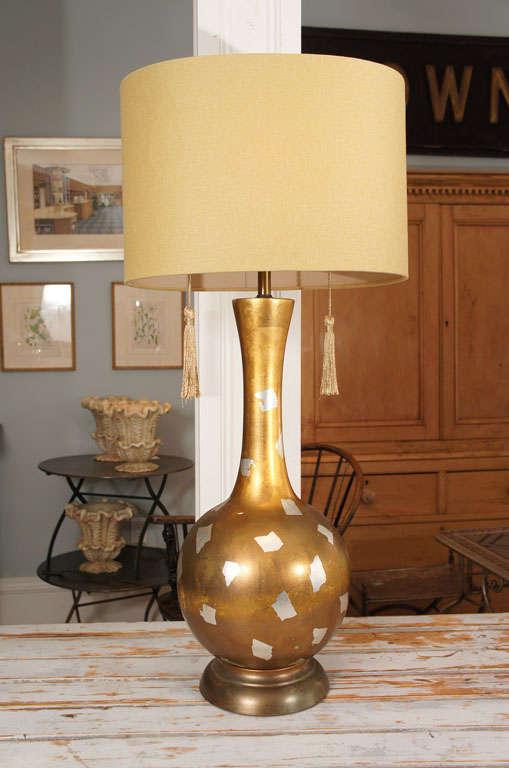 American Modernist Gilt Table Lamp For Sale