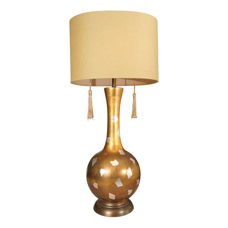 Modernist Gilt Table Lamp For Sale