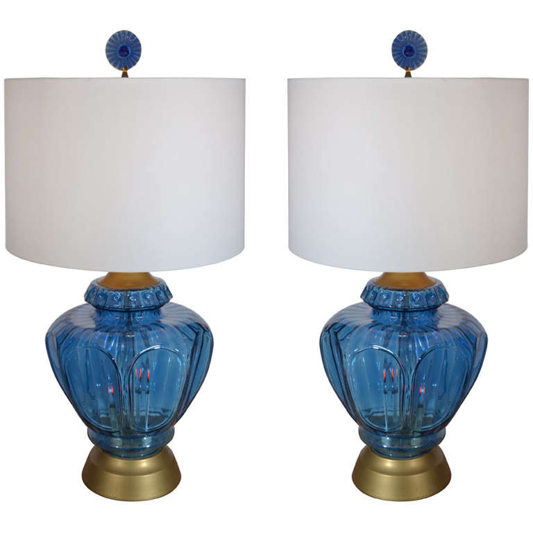 Pair Of Mid Century Blue Glass Lamps For Sale