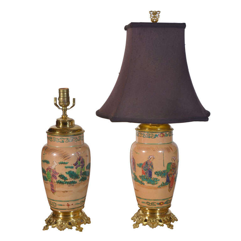 Asian Pair, Hand Painted, Electrified Oil Lamps