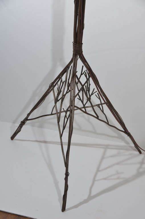 Hand Wrought Iron Floor Lamp Stylized Tree Configuration