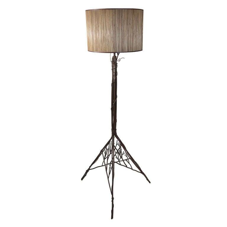 Hand Wrought Iron Floor Lamp, Stylized Tree Configuration. 1
