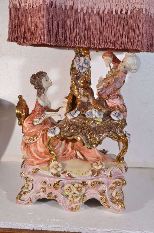 Exquisite, Capo Di Monte Table Lamp, Featuring Piano Playing Female And  Violin Playing Male