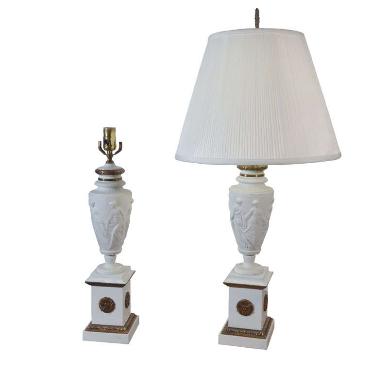 1930u0027s Italian Bisque Porcelain Table Lamps For Sale