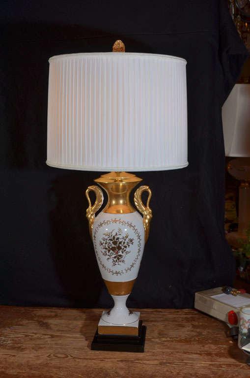 Japanese Hand Painted Silk Drum Lamp Shade