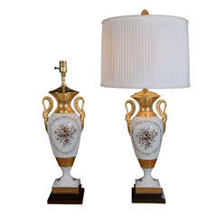 Isco Japan, Hand Painted Vintage Classic Table Lamps, Pair