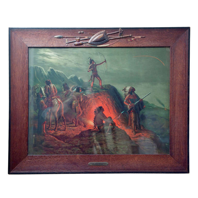 1904 Indian Lithograph Quot Burning Arrow Quot At 1stdibs