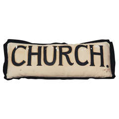 Custom Pillow Made from 1930s Church Banner