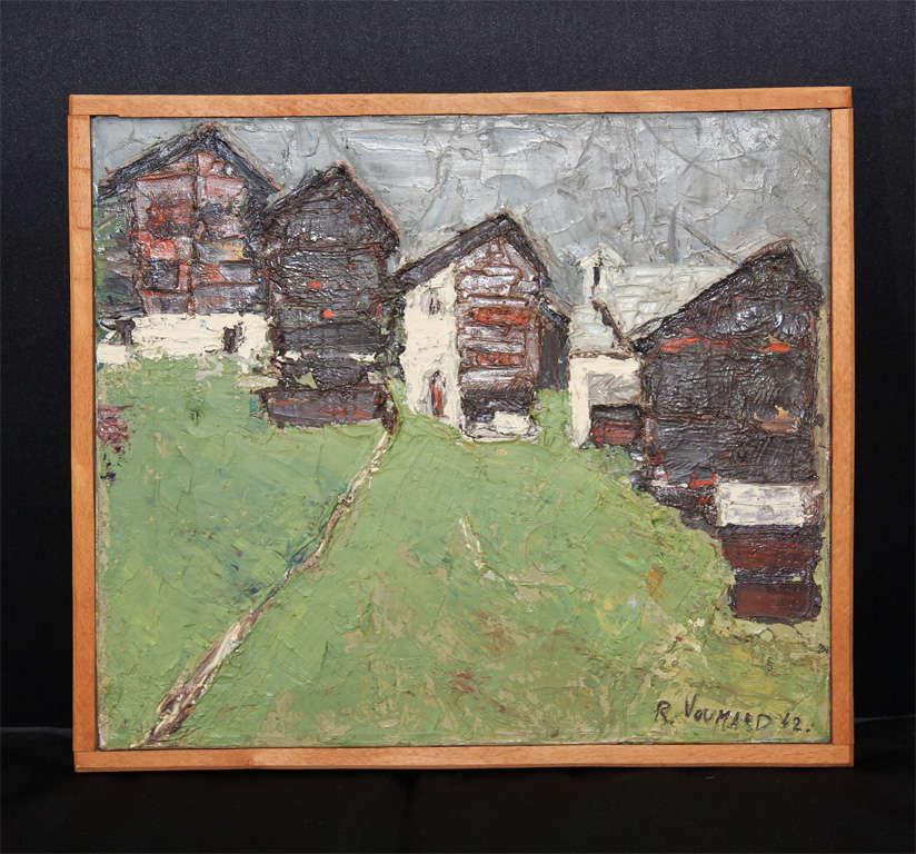 village, signed by artist Roger Voumard. Photo of artist on back.