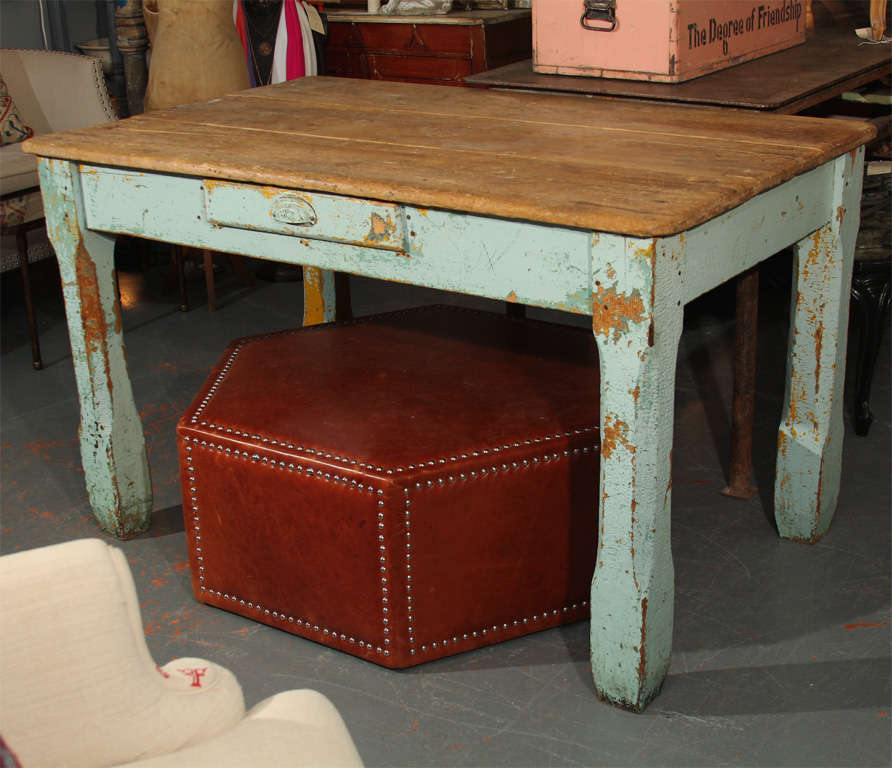 old paint farm table For Sale at 1stdibs