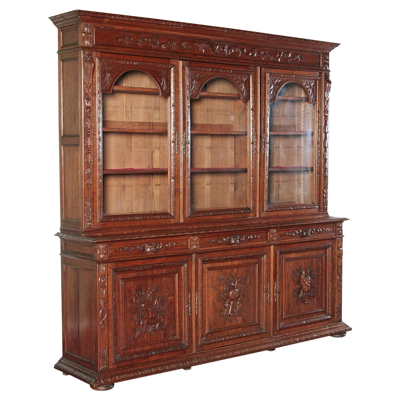 French Country Bookcase With Glass Doors