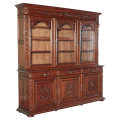 French Antique Carved Bookcase Bibliotheque with Glass doors