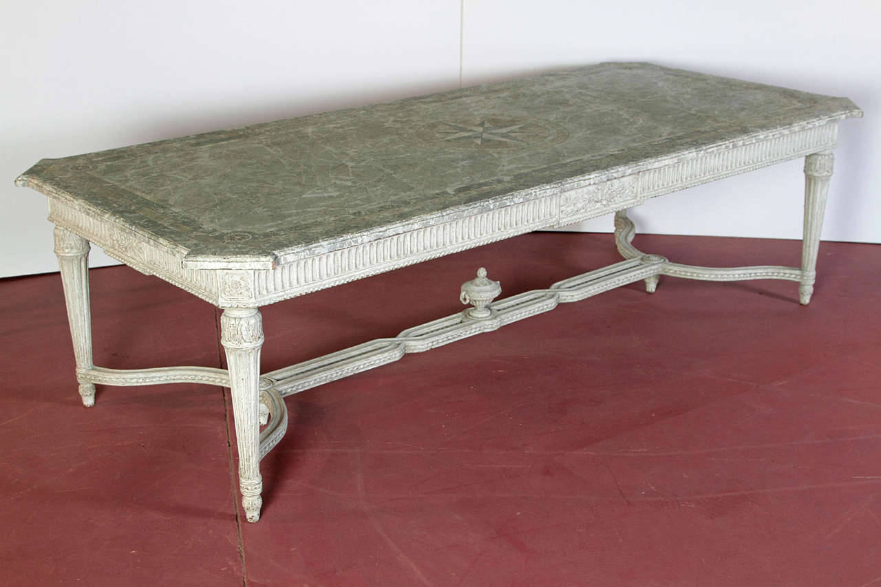 large 19th century french painted dining room table with
