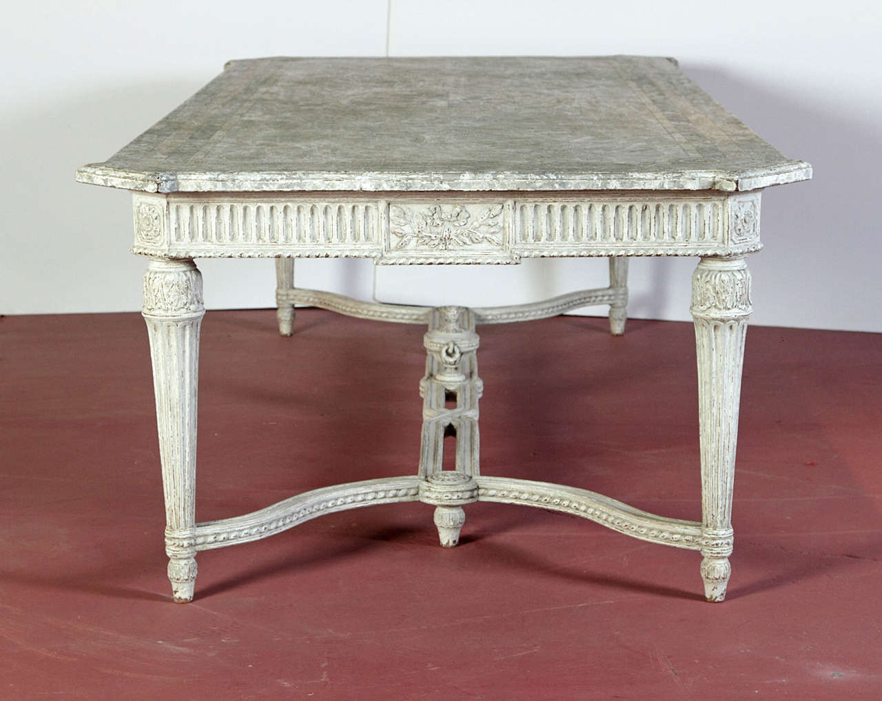 Large 19th century french painted dining room table with for Marble dining room table