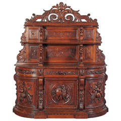 Finely Carved Antique Hunting Buffet Cabinet