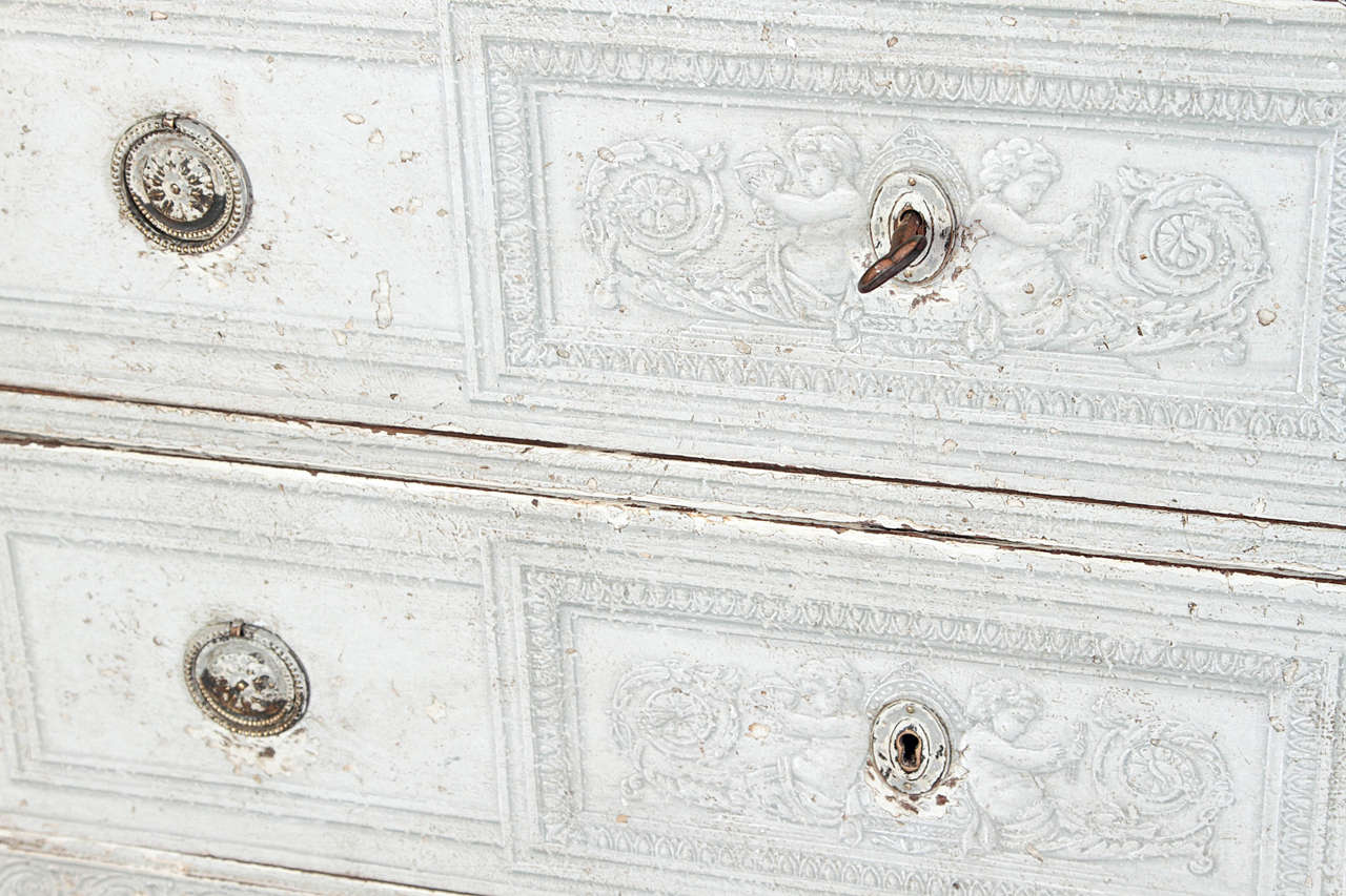 Pair of 19th Century French Louis XVI Painted Chest of Drawers with Faux Marble For Sale 1