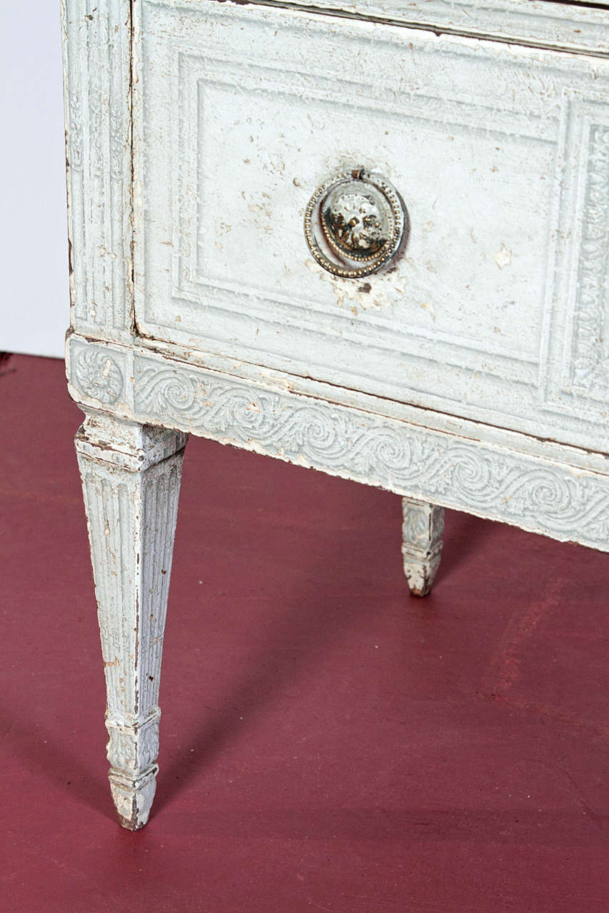 Pair of 19th Century French Louis XVI Painted Chest of Drawers with Faux Marble For Sale 2