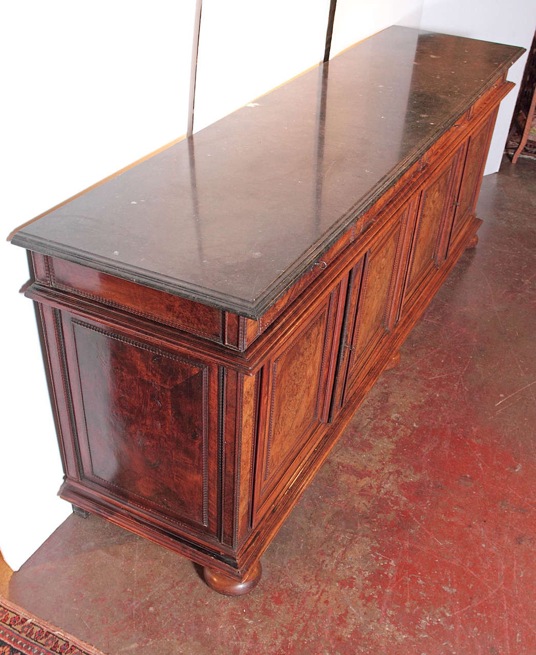 Antique French Walnut Buffet Sideboard With Marble Top At