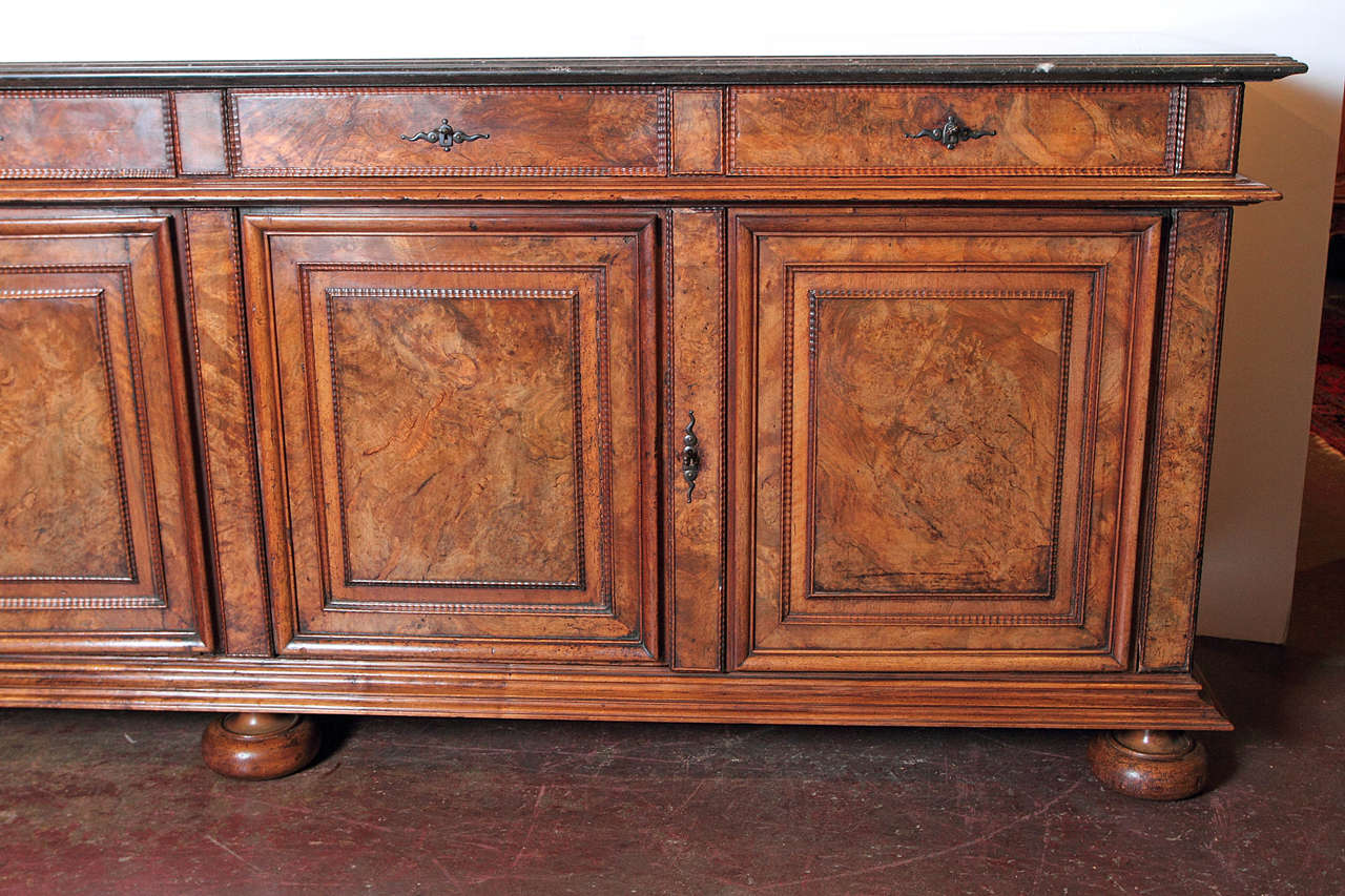 Marble Top Buffet ~ Antique french walnut buffet sideboard with marble top at