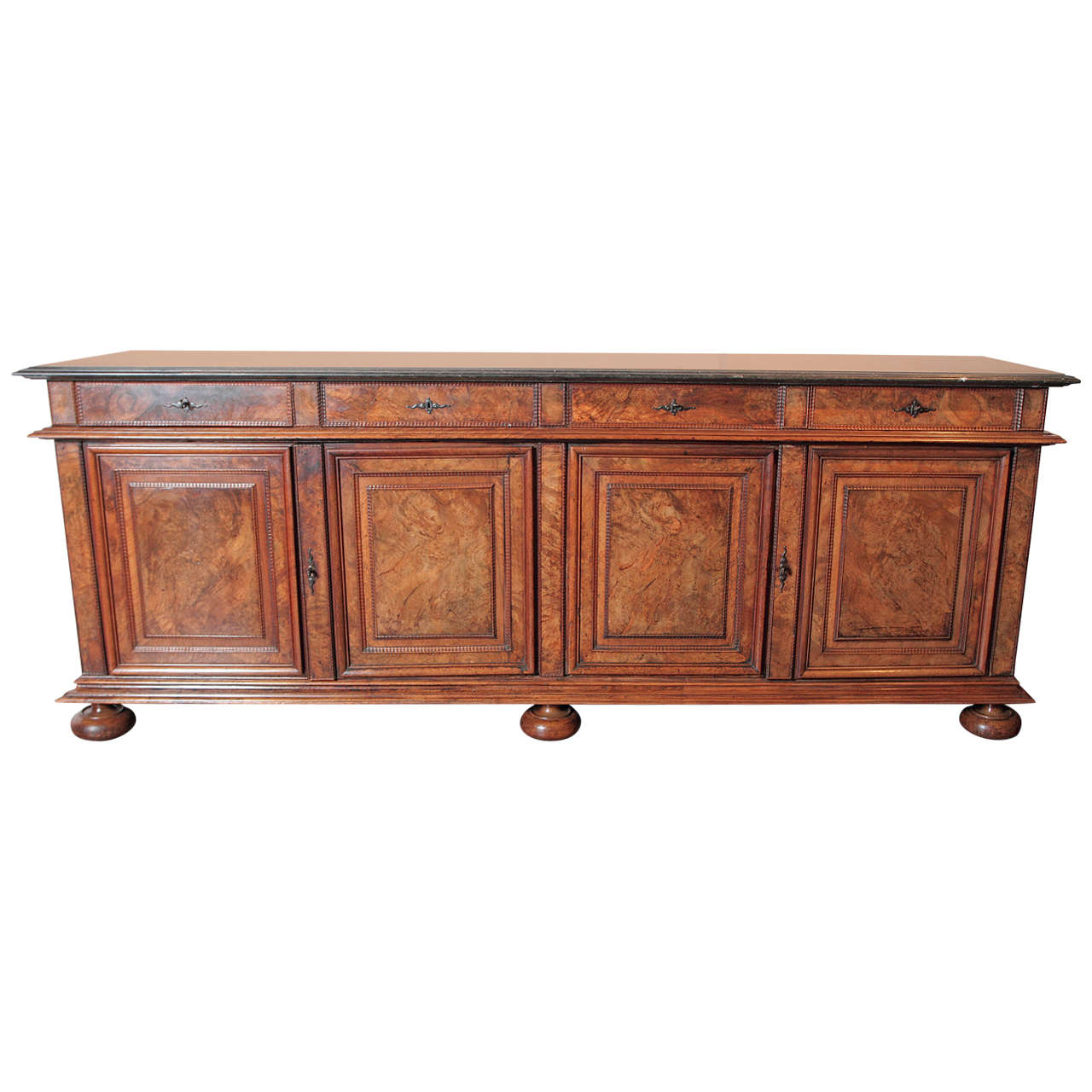Antique French Walnut Buffet Sideboard with Marble Top 1 - Antique French Walnut Buffet Sideboard With Marble Top At 1stdibs