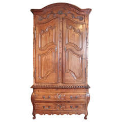 18th Century French Louis XV Carved Walnut Armoire Pantalonniere from Provence