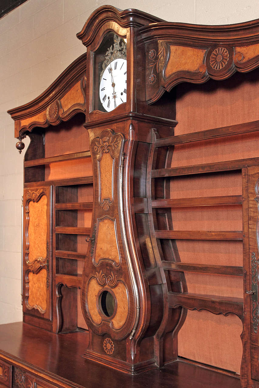 antique walnut french clock vaisselier sideboard at 1stdibs. Black Bedroom Furniture Sets. Home Design Ideas