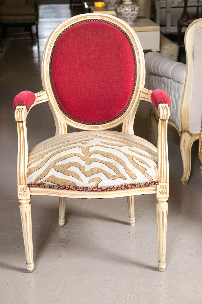 Louis XVI Set of Eight Hollywood Regency Style French Dining Chairs Attributed to Jansen
